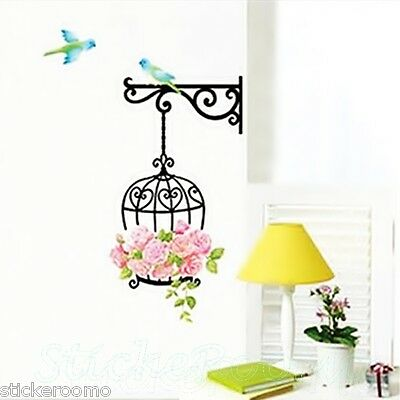ROMANTIC BIRDCAGE WALL STICKERS REMOVABLE VINYL DECAL HOME DECORATION HOME DECOR