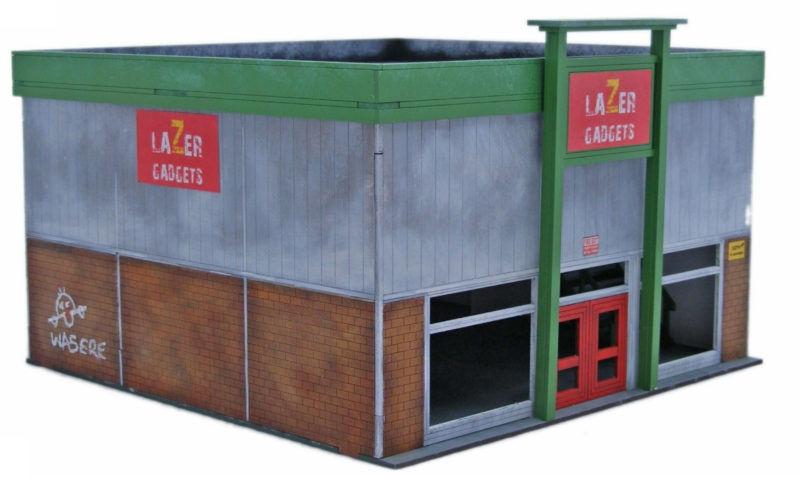 Retro Americana Retail Unit LARGE 28mm Laser Cut MDF Building Q003