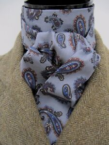 Self-tie-Grey-amp-Navy-Paisley-Cotton-Riding-Stock-Event-Hunting-Showing