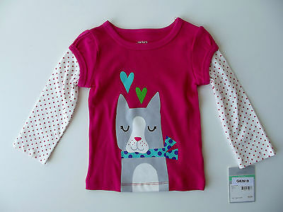 """Carter's Girls Glitter """"dog"""" Long Sleeve Pink Long T-shirt Size 12 Mo Nwt G82654 2019 New Fashion Style Online Tops & T-shirts Baby & Toddler Clothing"""