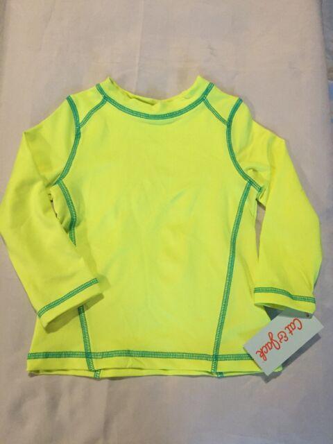New Infant Boy's Cat /& Jack Neon Yellow Rash Guard Swim Shirt Size 18 Months