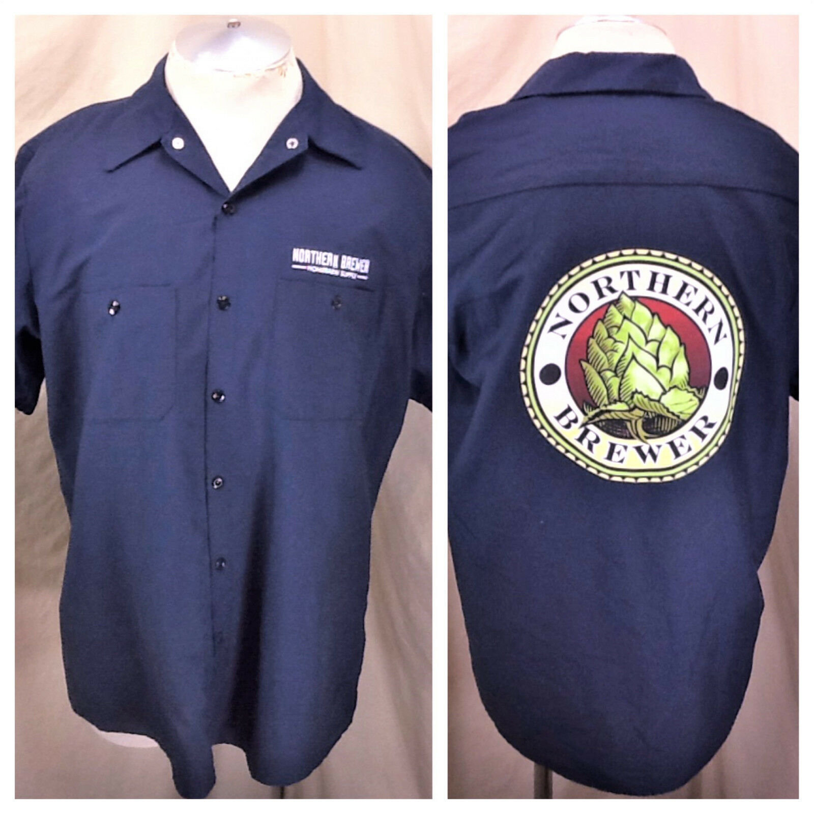 s l1600 Red Kap Northern Brewer Home Brew Supply (Large) Button Up Breweriana Shirt Blue