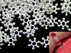 7-5mm-Silver-Tone-Snowflake-Flower-Daisy-Spacer-Beads-Jewellery-Making-Findings
