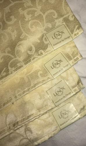 "Lenox Ivory Opal Innocence Set of 4 Dinner Cloth Napkins Size 19/"" X 19/"" NWT"