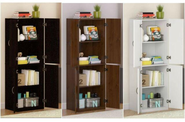 Floor Standing Storage Cabinet Wood Doors Shelves Kitchen Pantry