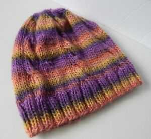 98eeda5f477 Image is loading WOMEN-HANDMADE-KNIT-100-MERINO-WOOL-HAT-SLOUCHY-