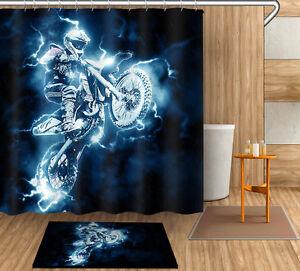 "72/79"" Decor Shower Curtain Bathroom Rug Mat Racer Waterproof Motorcycle YL4033"