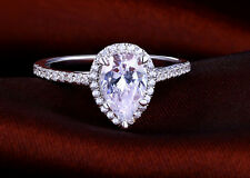 ENGAGEMENT RING PEAR CUT ENHANCED JEWELRY 2 CT  D/SI1 DIAMOND 18K WHITE GOLD