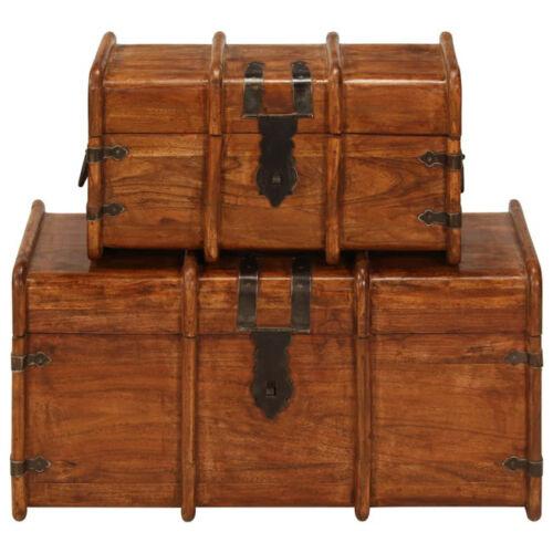 2pcs Vintage Wooden Treasure Chest Storage Trunk Book Jewellery Case Retro-Style