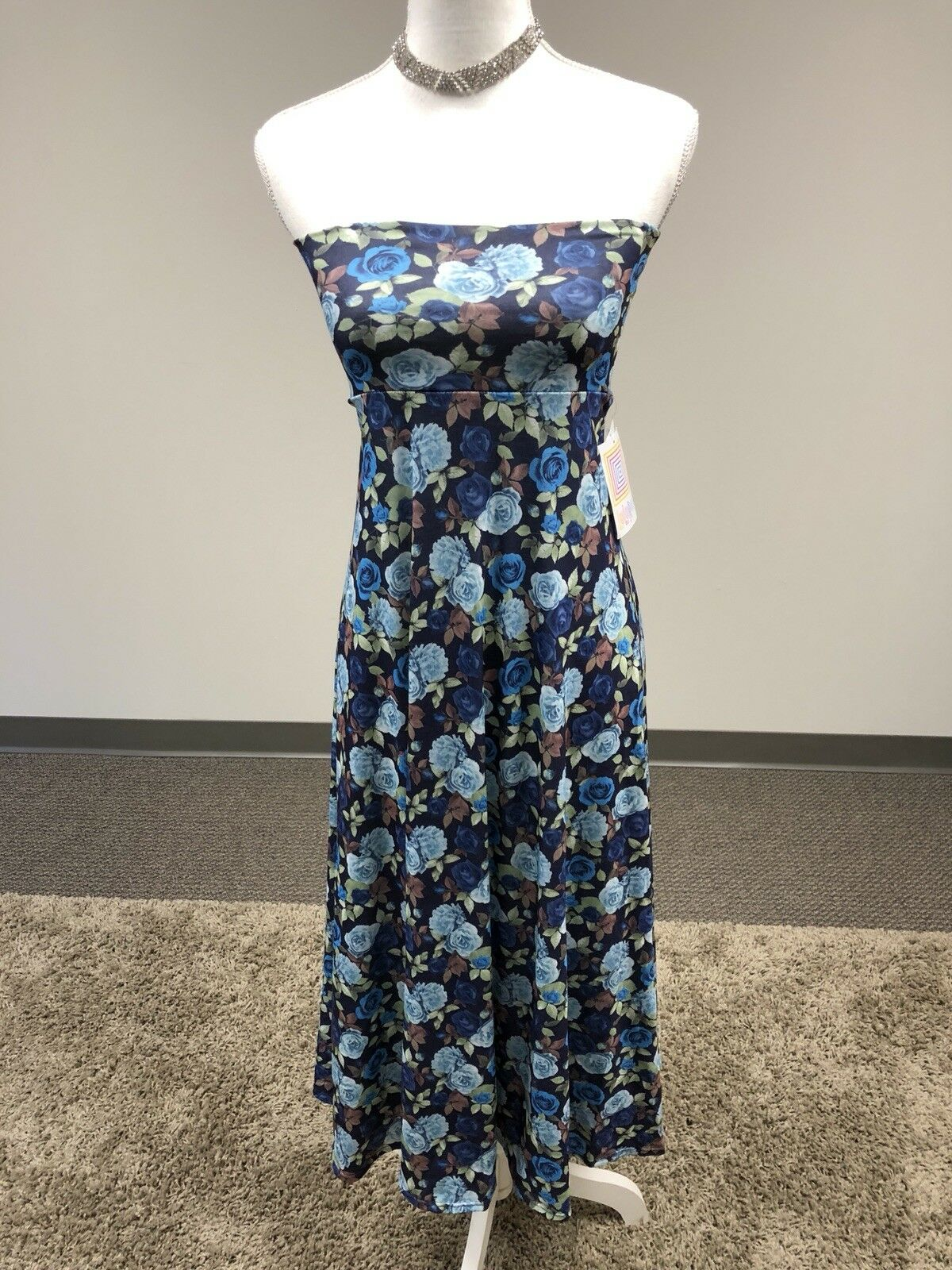 LuLaRoe Maxi Dress bluee pink Floral Women's XXS