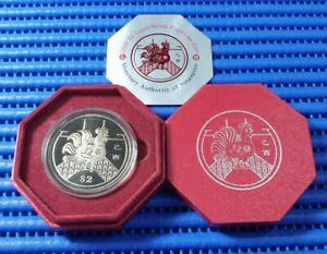2005-Singapore-Lunar-Year-of-the-Rooster-2-Cupro-Nickel-Proof-Like-Coin