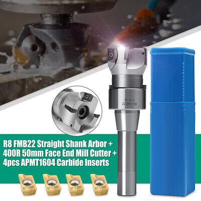 4x Carbide Insert R8 FMB22 Straight Shank Arbor 400R Face End Mill Cutter