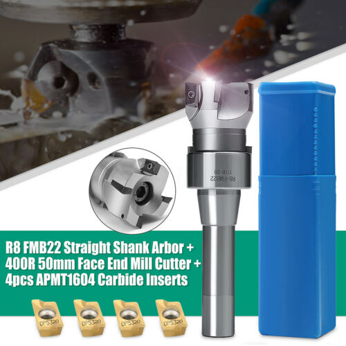 4PCS APMT1604 Carbide Inserts R8 Shank Arbor 400R 50MM Face End Mill