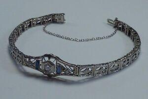 10.9 Gram 18K White Gold Filigree Sapphire & Diamond Polaris Bracelet, 7.5