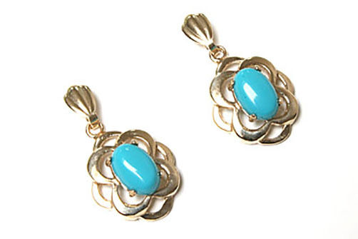 9ct gold Turquoise Celtic Drop Dangly earrings Made in UK Gift Boxed Birthday
