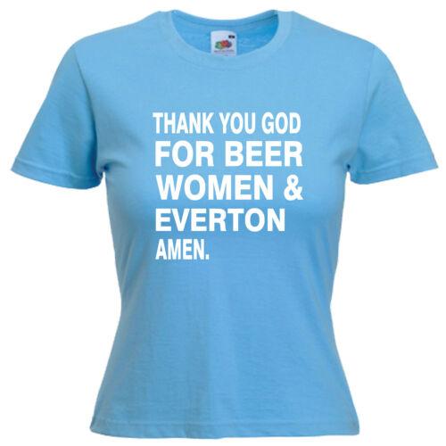 Beer Women Everton Ladies Lady Fit T Shirt 13 Colours Size 6-16