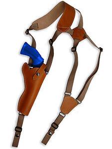 NEW-Barsony-Tan-Leather-Vertical-Gun-Shoulder-Holster-for-Colt-6-034-Revolvers