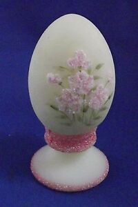 Fenton Art Glass Vintage Hand Painted & Signed Coralene Flowers Custard Egg