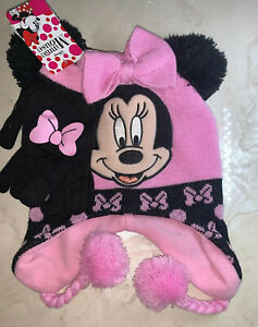 Disney-MINNIE-MOUSE-Knit-HAT-BEANIE-Cap-amp-MITTENS-SET-Toddler-Size-NWT