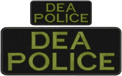 """DEA POLICE embroidery patches  4x10 and 2x5/"""" hook od green letters"""