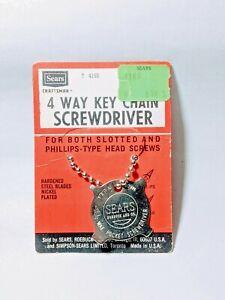 Vintage-Sears-Roebuck-Craftsman-4-way-Key-Chain-Screwdriver-ORIGINAL-PACKAGING