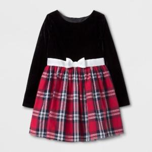 Cat /& Jack Girls/' A Line Dress Black Velvet Red Plaid Velvet  L 10//12 NEW