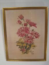Peinture sur soie - Décor floral - Old Vintage Silk Painting - Alt Seidenmalerei