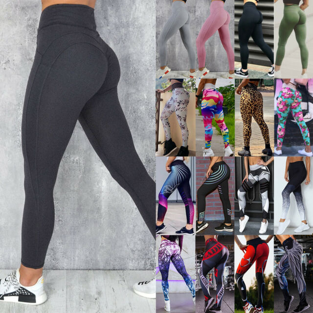 Women's High Waist Yoga Pants Tummy Control Workout Ruched Butt Lift Leggings G5
