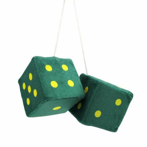 "3/"" Dark Green Fuzzy Dice with Yellow Dots Pair VPADICEDGYL vintage parts usa"