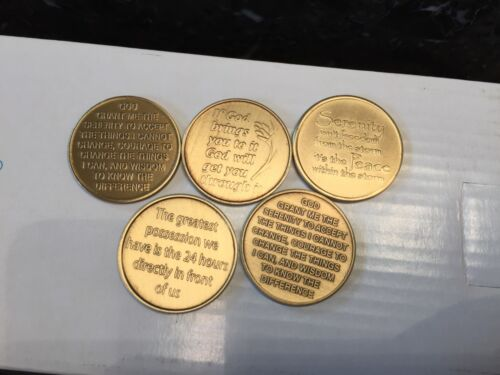 AA Alcoholics Anonymous Recovery Serenity Chip Medallion Set Of 5 Coins Bronze