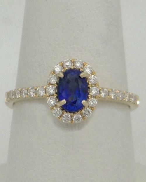LADIES 14K YELLOW gold .77ctw blueeE SAPPHIRE .30ctw DIAMOND BALLERINA HALO RING