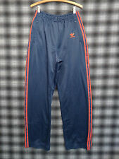 Vtg 80s Adidas Trefoil Track Pants Navy Blue Red Stripe Made In USA