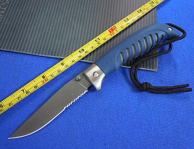 9'' New 420J Serrated Blade Rubber Handle Back Lock Folding Pocket Knife  B222