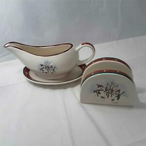 Royal-Seasons-Gravy-Boat-amp-Napkin-Holder-Christmas-Snowmen-Winter-Stoneware-EUC