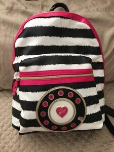 Betsey Johnson Backpack Pink Black WHITE STRIPE  School Travel Bag NWT