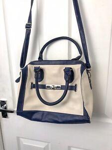 Details About Primark Bowling Bag Style Navy Cream Women S Handbag