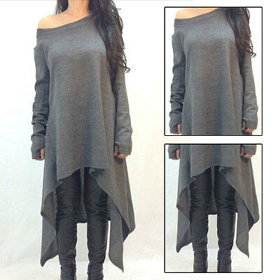 Hot Fashion Oversize Damen Langarm Bluse Longshirt Tunika Top Minikleid