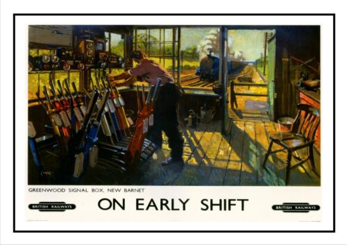 Greenwood Signal Box New Barnet British Railway Advert Old Vintage Retro Poster