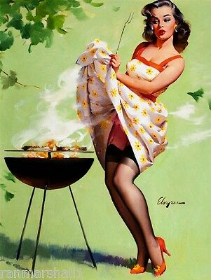 1940s Pin-Up Girl Barbecue Picture Poster Print Art Vintage Pin Up
