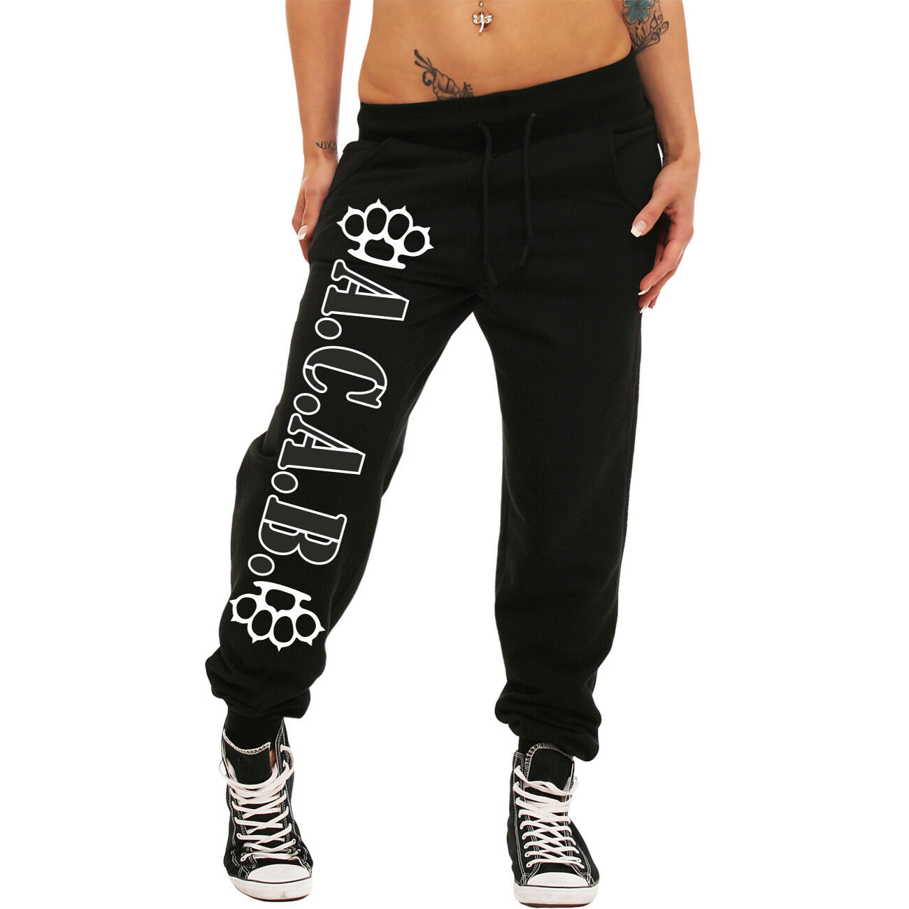 Frauen Mädchen Jogginghose A.C. A.B. schlagring skin punk style ultras Hools