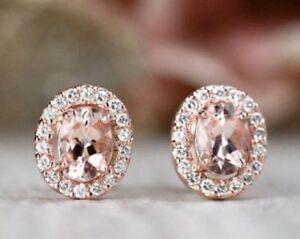 1-90Ct-Round-Cut-Peach-Morganite-Halo-Women-039-s-Stud-Earrings-14k-Rose-Gold-Over