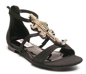 NEW-Two-Lips-7-5-Medium-B-M-Allie-Black-T-Strap-Womens-Sandals-Flats