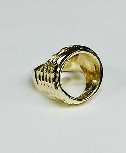 14k Mens Ring Mounting For Genuine Indian Head 2 1 2 Dollar Gold Coin Ebay