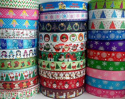 "✜ 1m CHRISTMAS GROSGRAIN RIBBON 7/8"" 22mm Cake Bow Hair Gift Wrapping Present ✜"