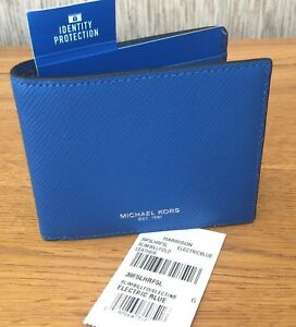 70667d02ca08 Image is loading MICHAEL-KORS-ELECTRIC-BLUE-HARRISON-WALLET-WITH-RFID-