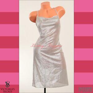 Babydoll Chemise Sequin Midi da M Abito Lingerie Victoria's Secret Silver notte P0qnA