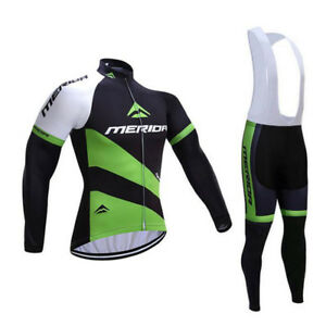 Merida-Cycle-Clothing-Men-039-s-Long-Sleeve-Cycling-Jersey-Padded-Bib-Pants-Kit