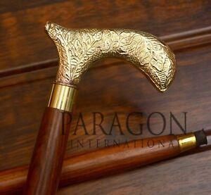 New Antique Victorian  Brass Vintage Designer Handle Walking Wooden Stick Cane////