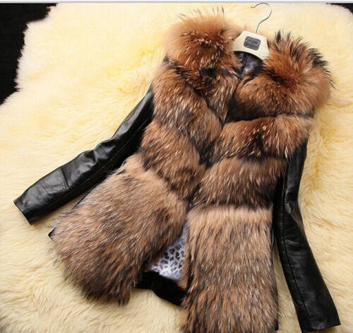 femmes fausse longs chaudes de manteau fourrure D613 des centrale Parka des Vestes manteaux d'unité épaississent de qYwpUU
