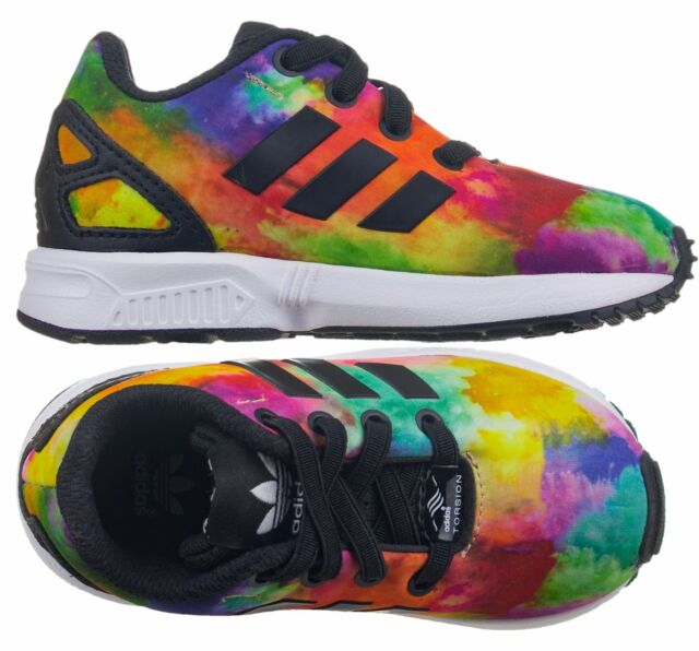 d30ccb78b35 Adidas Originals Zx Flux EL Infants Girls Kids Baby Fabric Multicolor  Trainers